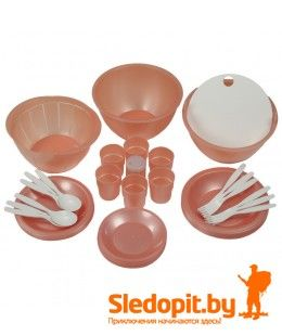 Набор кемпинговой посуды ПИКНИК оранжевый на 6 персон 26 предметов