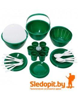 Набор кемпинговой посуды ПИКНИК зеленый на 6 персон 26 предметов