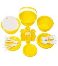 Набор кемпинговой посуды ПИКНИК желтый на 6 персон 26 предметов