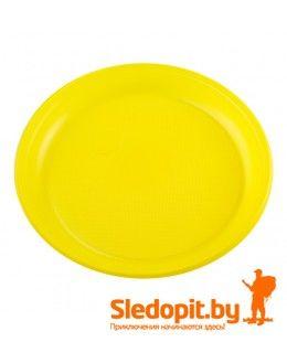 Тарелка пластиковая туристическая многоразовая желтая 210мм