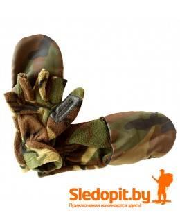 Варежки-перчатки флисовые камуфляж